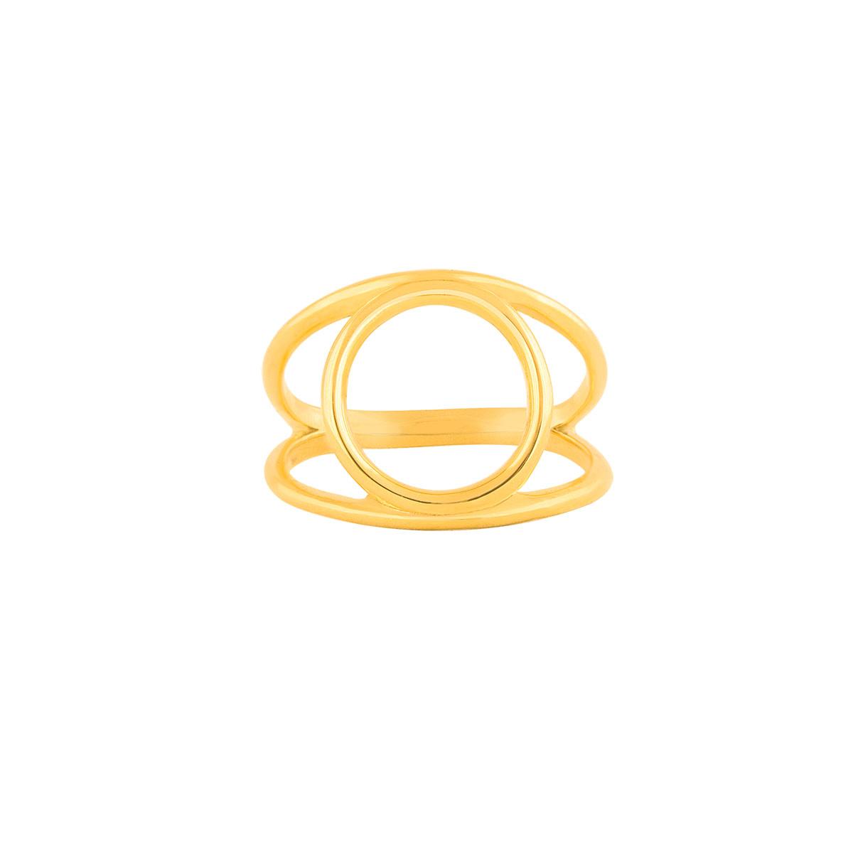 انگشتر طلا دایره و دو رینگ دامله