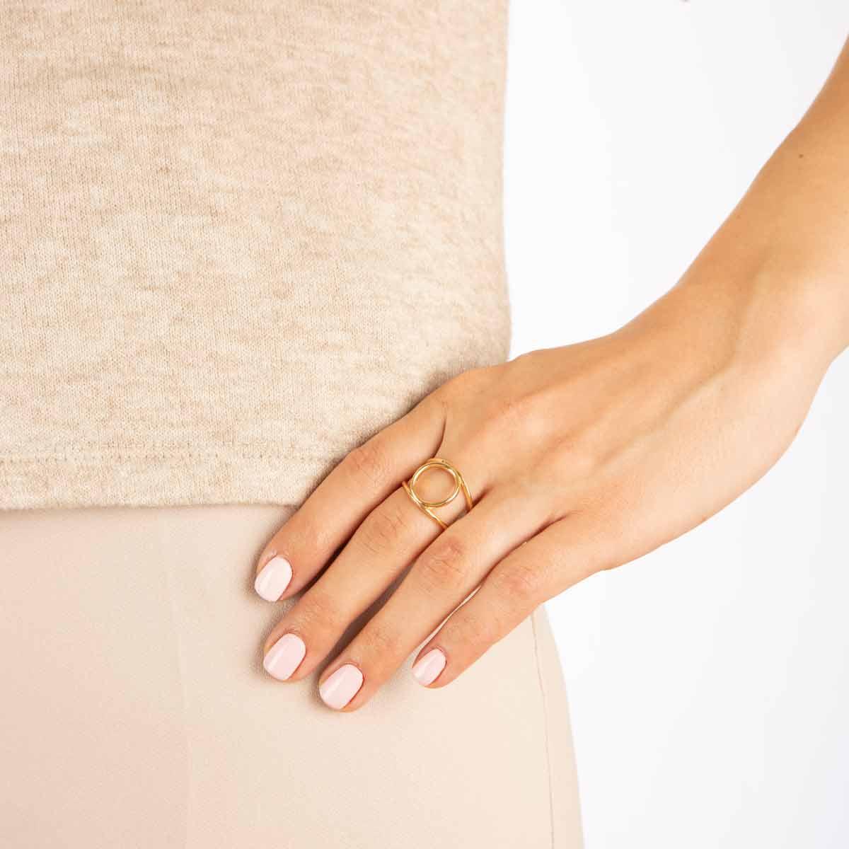 انگشتر طلا دایره و دو رینگ دامله پرسته