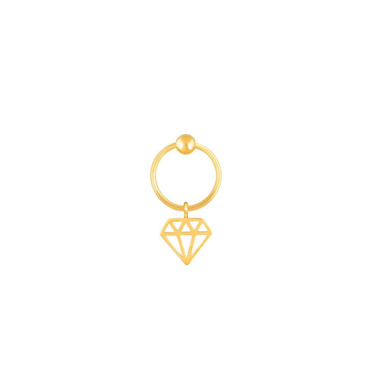 گوشواره طلا تک لنگه ای الماس و گوی