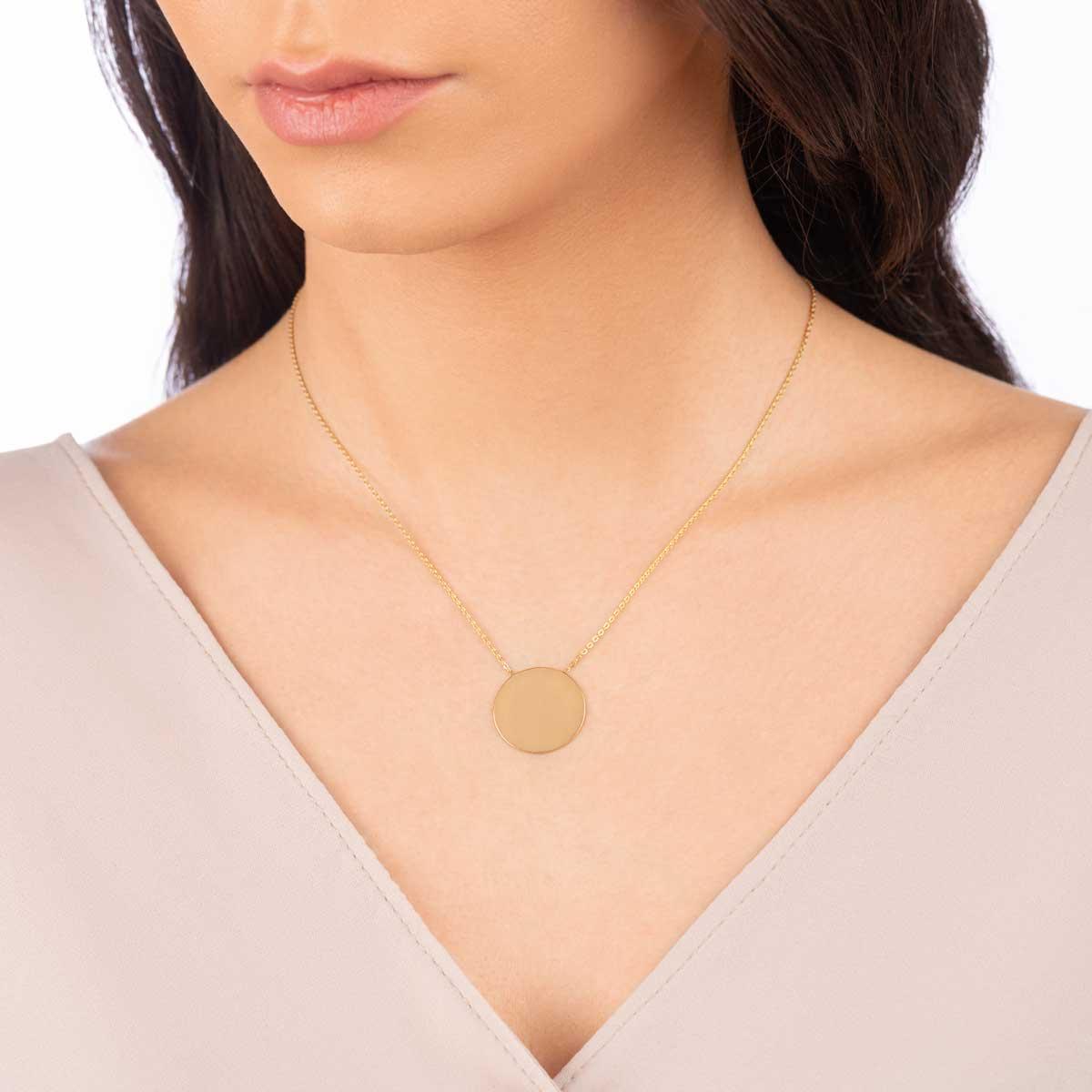 گردنبند طلا حکاکی دایره بزرگ