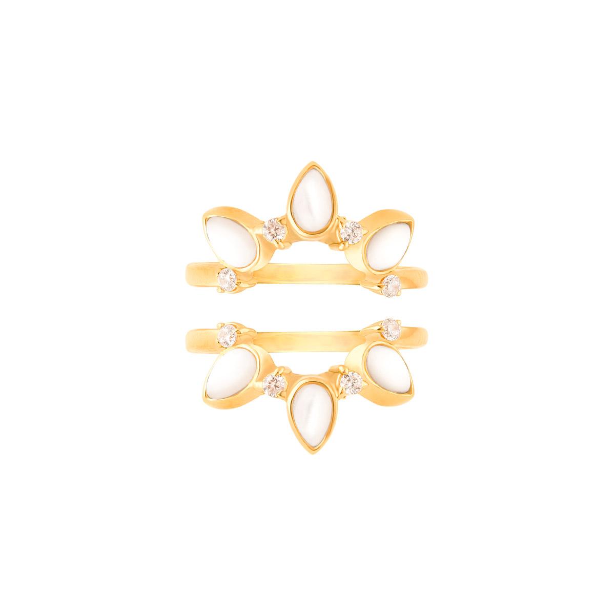 انگشتر طلا مینِلاوا و صدف پرسته