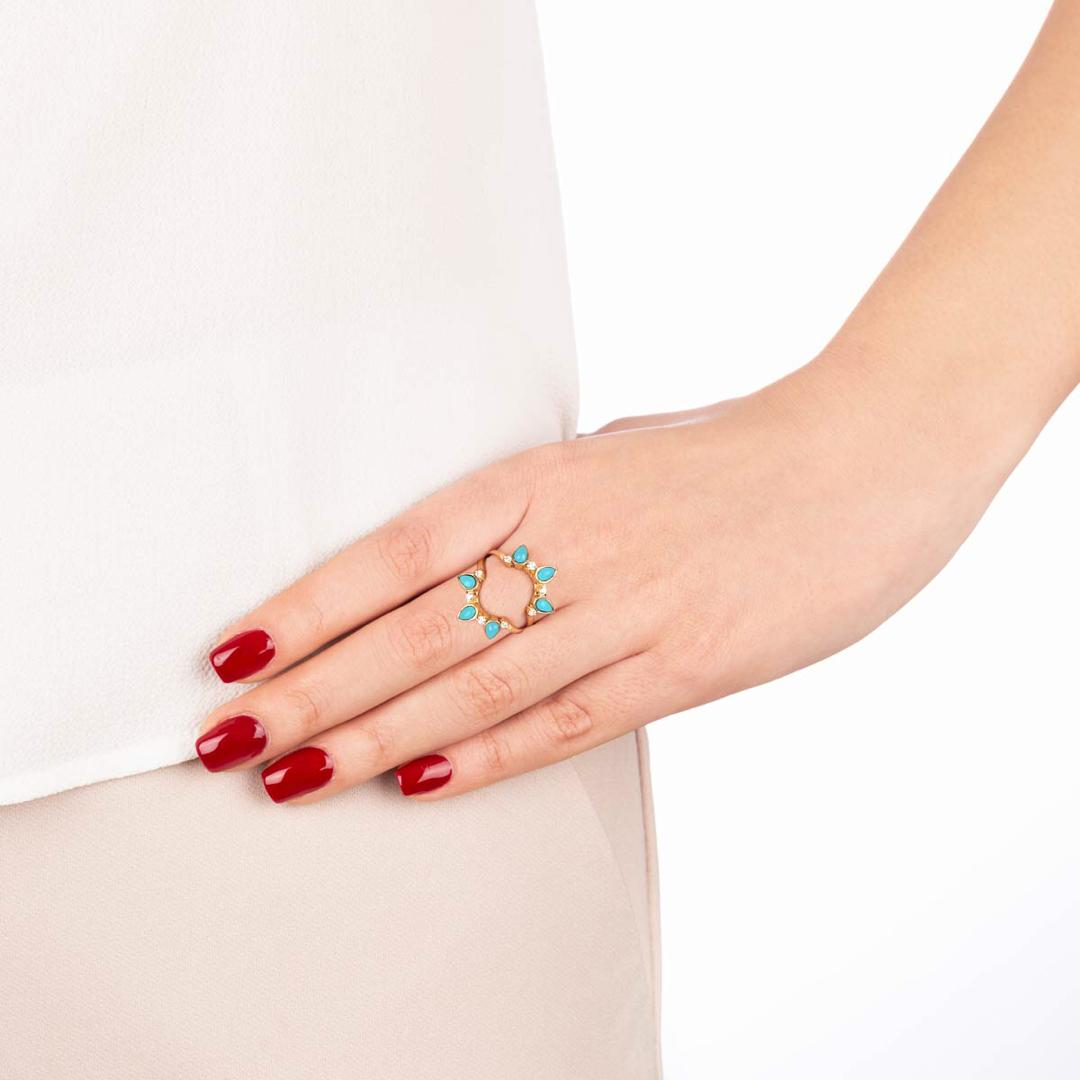 انگشتر طلا مینِلاوا و فیروزه