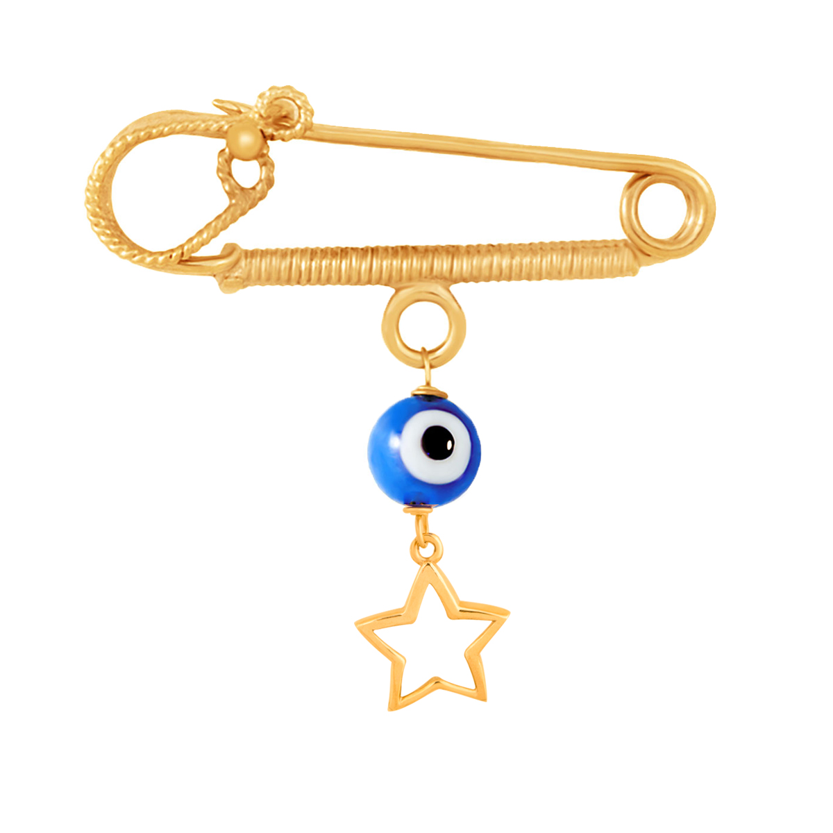 سنجاق سینه طلا ستاره توخالی و چشم نظر