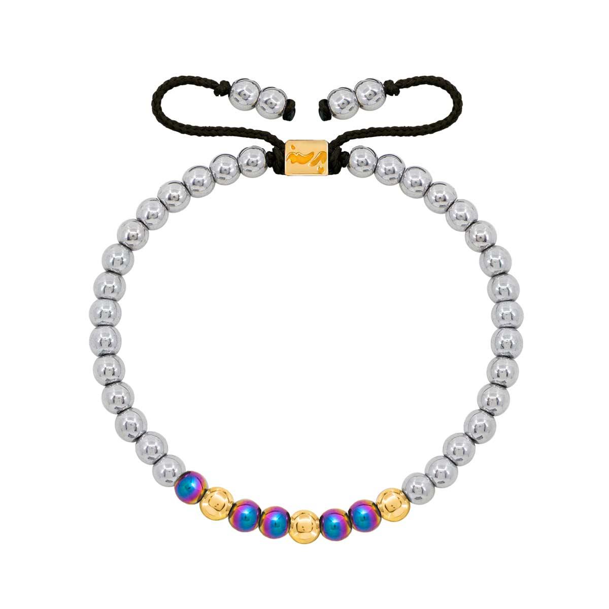 دستبند طلا سنگی سه گوی حدید روشن و رنگی