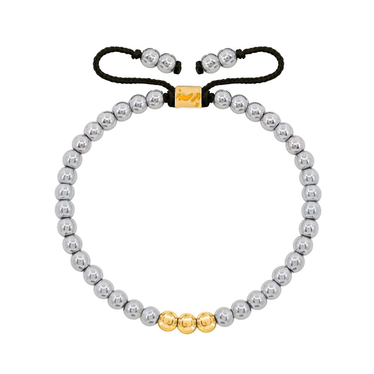 دستبند طلا سنگی سه گوی و حدید روشن