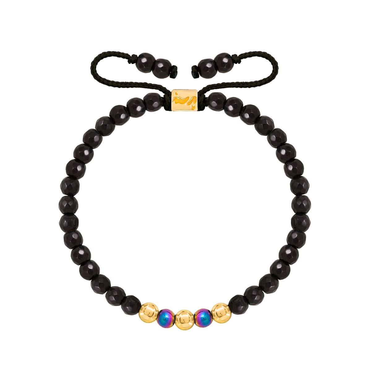 دستبند طلا سنگی سه گوی و اونیکس تراش دار