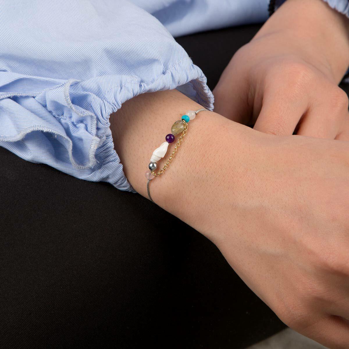 دستبند طلا بافت سفید صدف