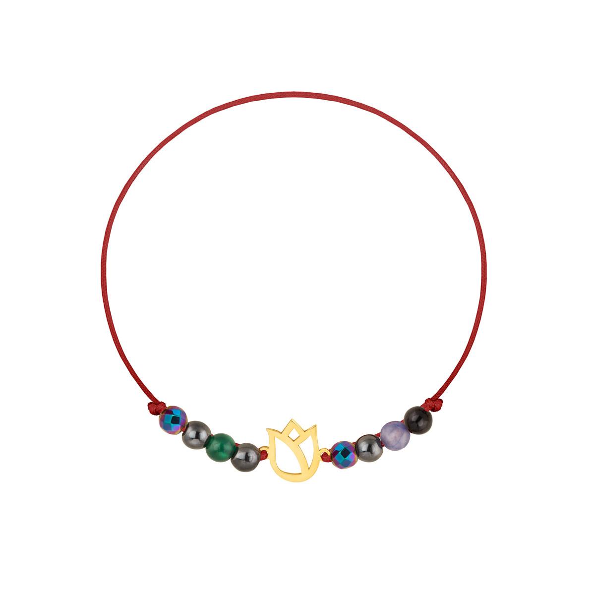 دستبند طلا بافت زرشکی گل لاله