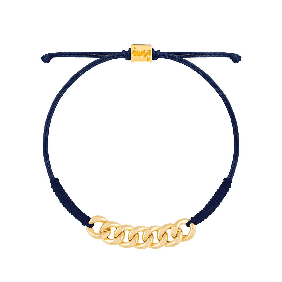 دستبند طلا بافت هفت حلقه کارتیه سرمه ای