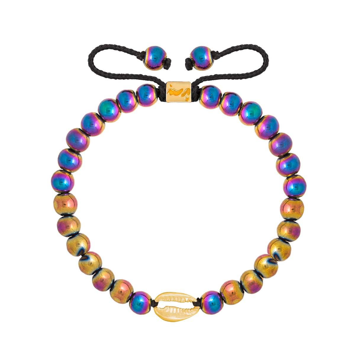 دستبند طلا سنگی صدف و حدید رنگی