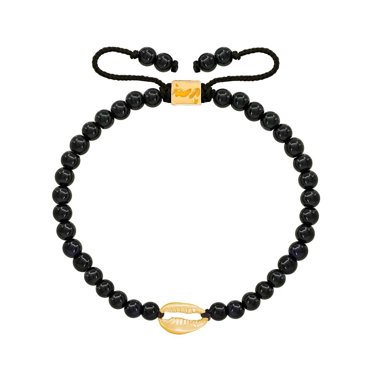 دستبند طلا صدف و اونیکس