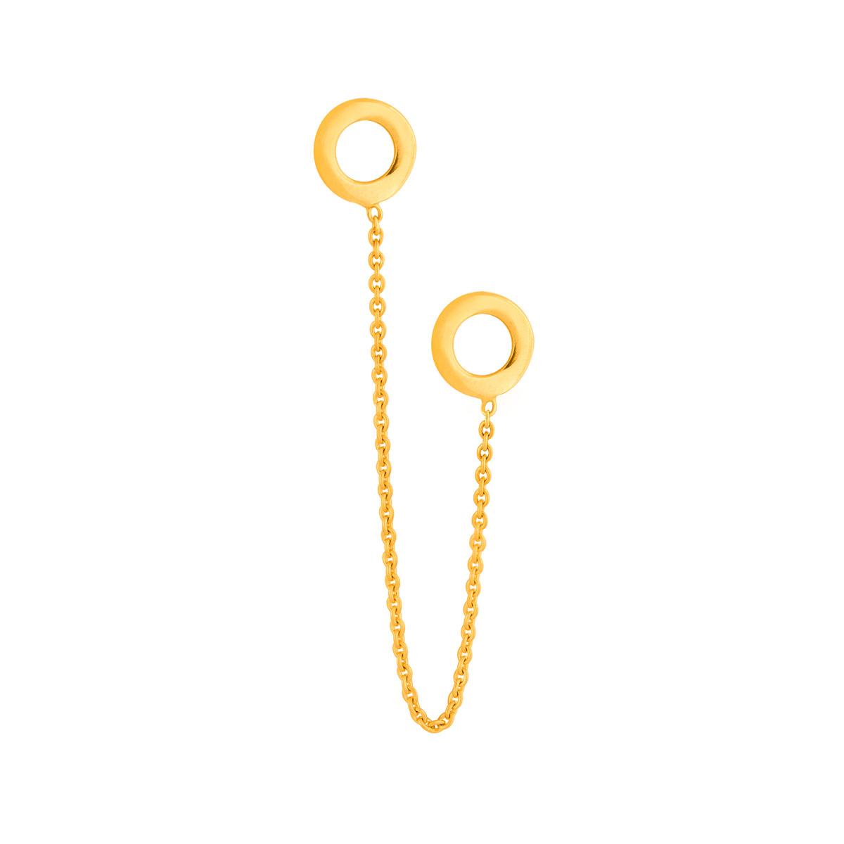 گوشواره طلا تک لنگه زنجیر و دو دایره توخالی