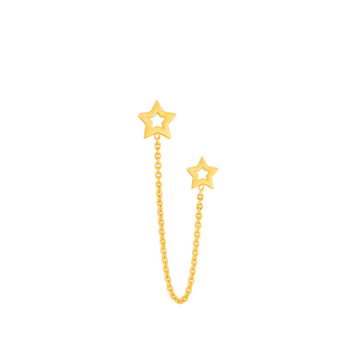 گوشواره طلا تک لنگه ای زنجیر و دو ستاره