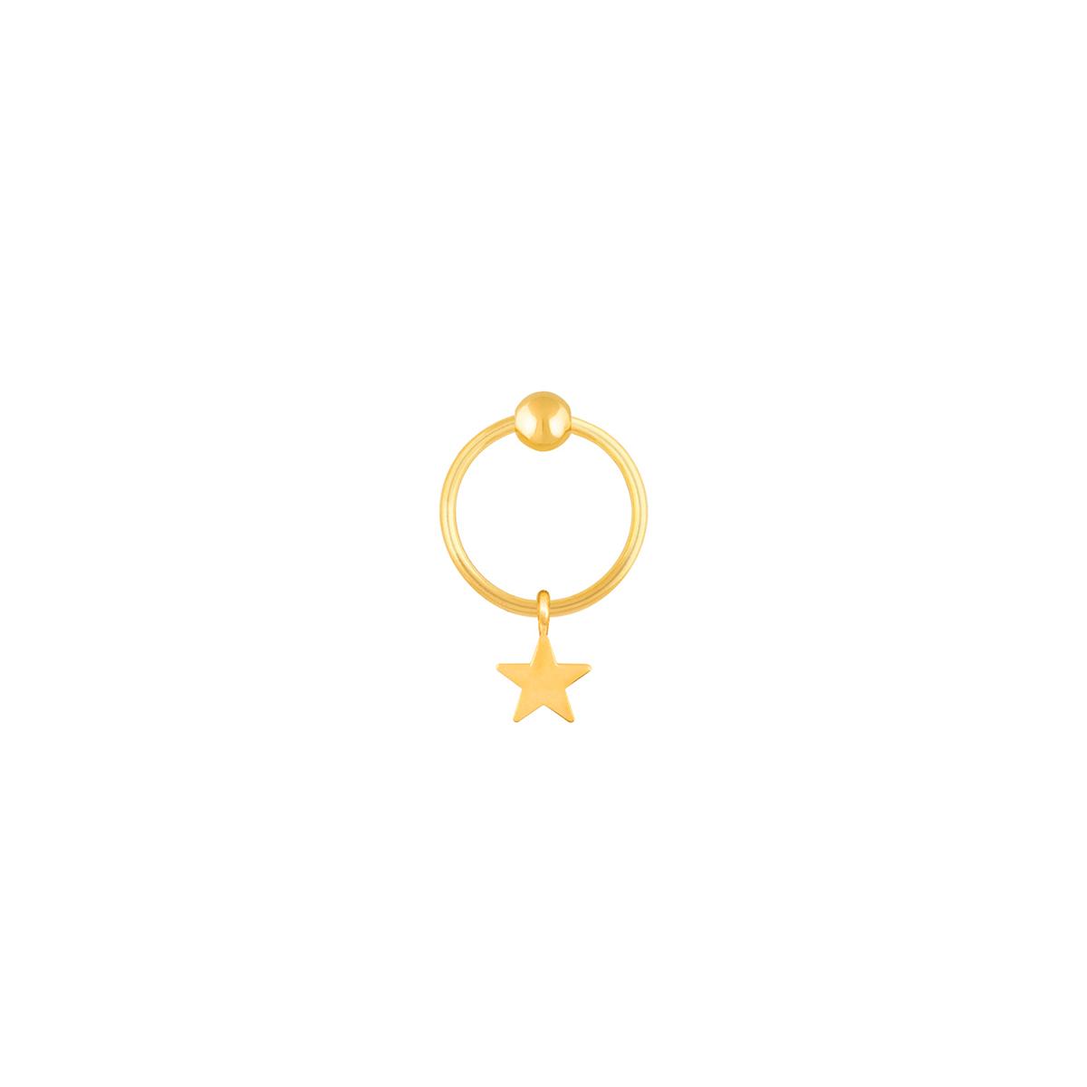 گوشواره طلا تک لنگه ای ستاره و گوی