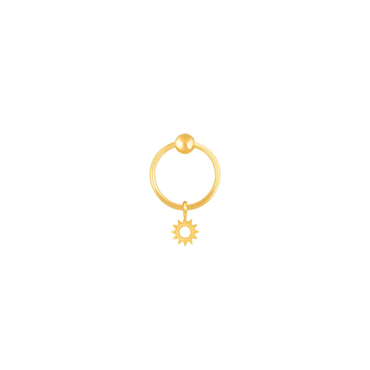 گوشواره طلا تک لنگه ای خورشید و گوی
