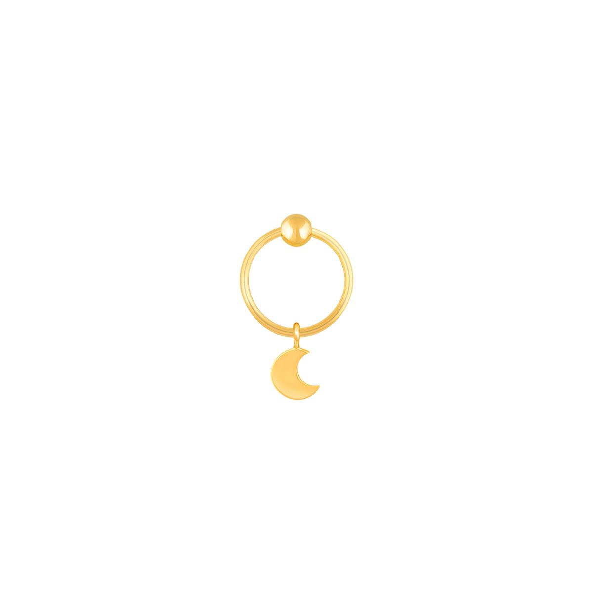 گوشواره طلا تک لنگه ای ماه و گوی