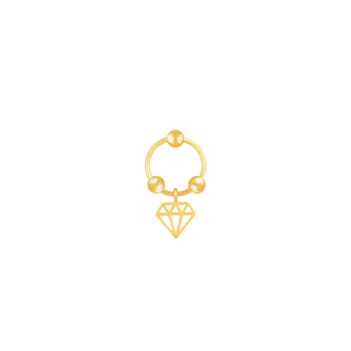 گوشواره طلا تک لنگه ای الماس و سه گوی