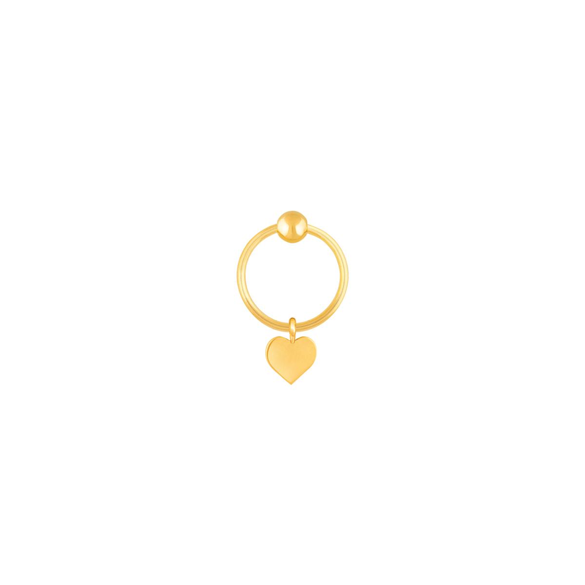 گوشواره طلا تک لنگه ای قلب و گوی