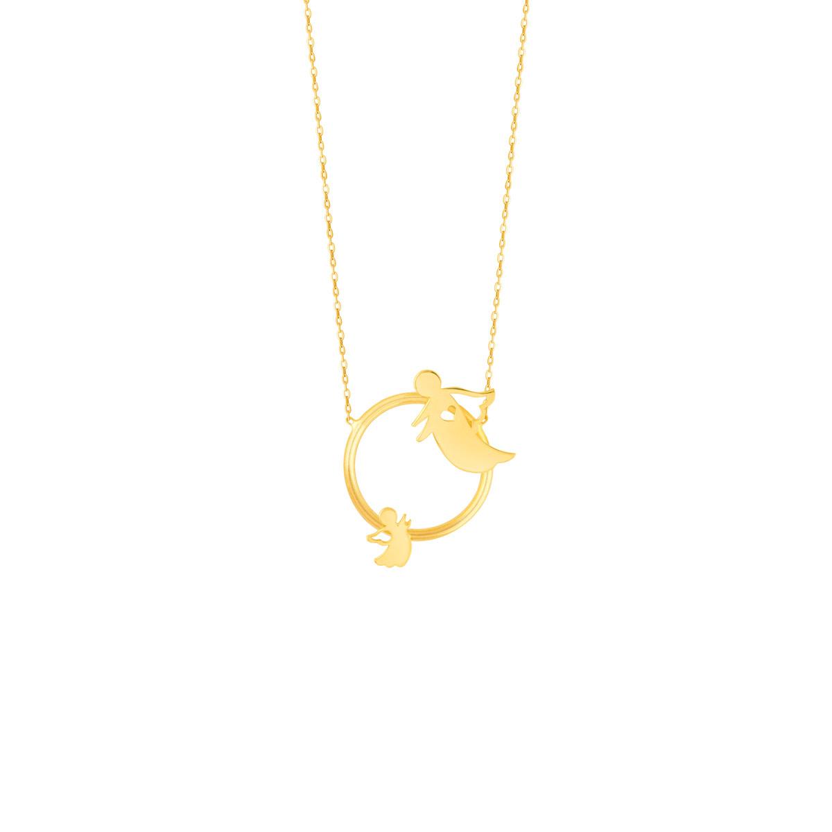 گردنبند طلا حلقه فرشته مادر و فرزند