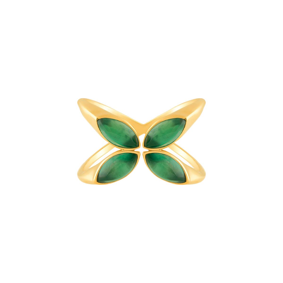 انگشتر طلا چهار اشک سبز