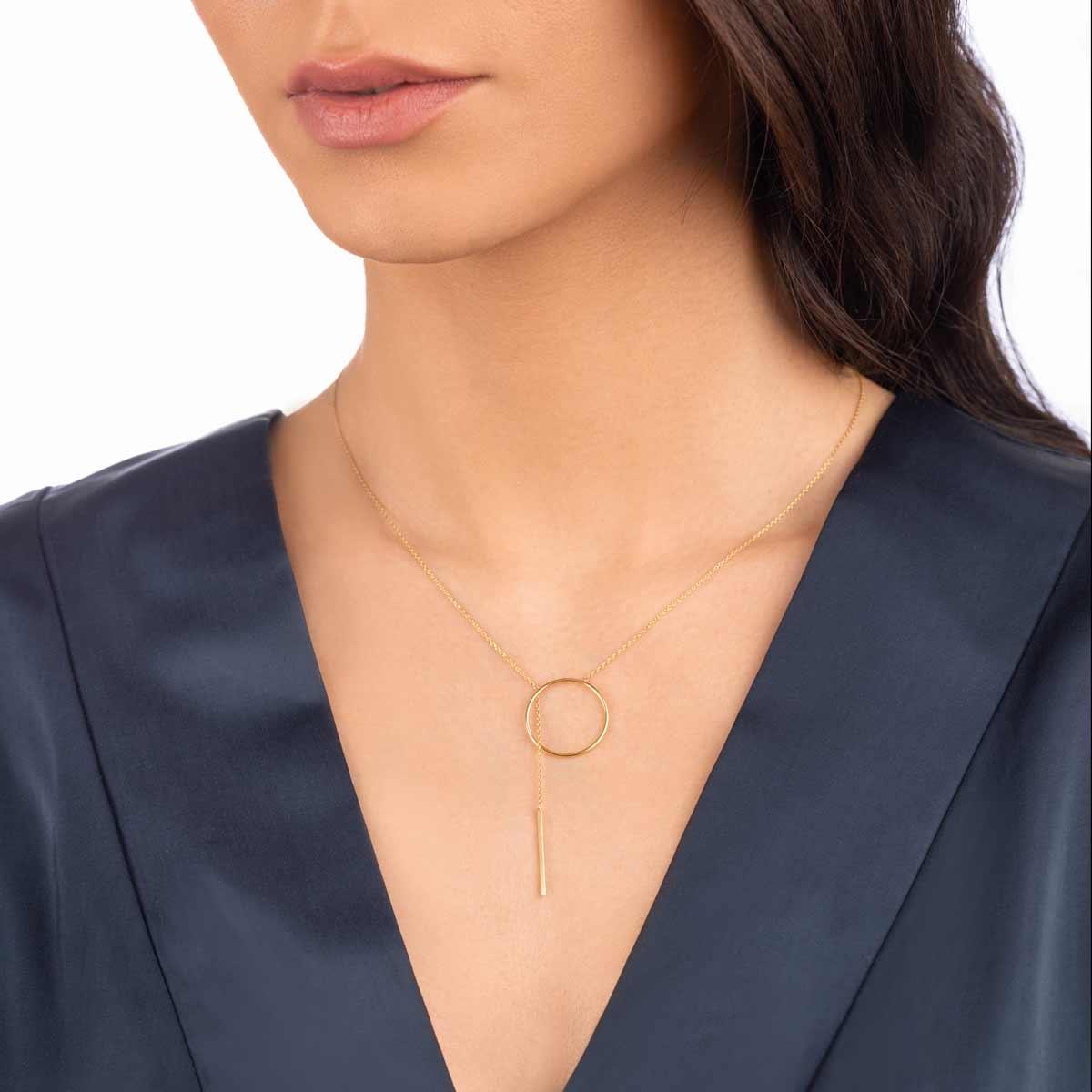 گردنبند طلا دایره و آویز خط