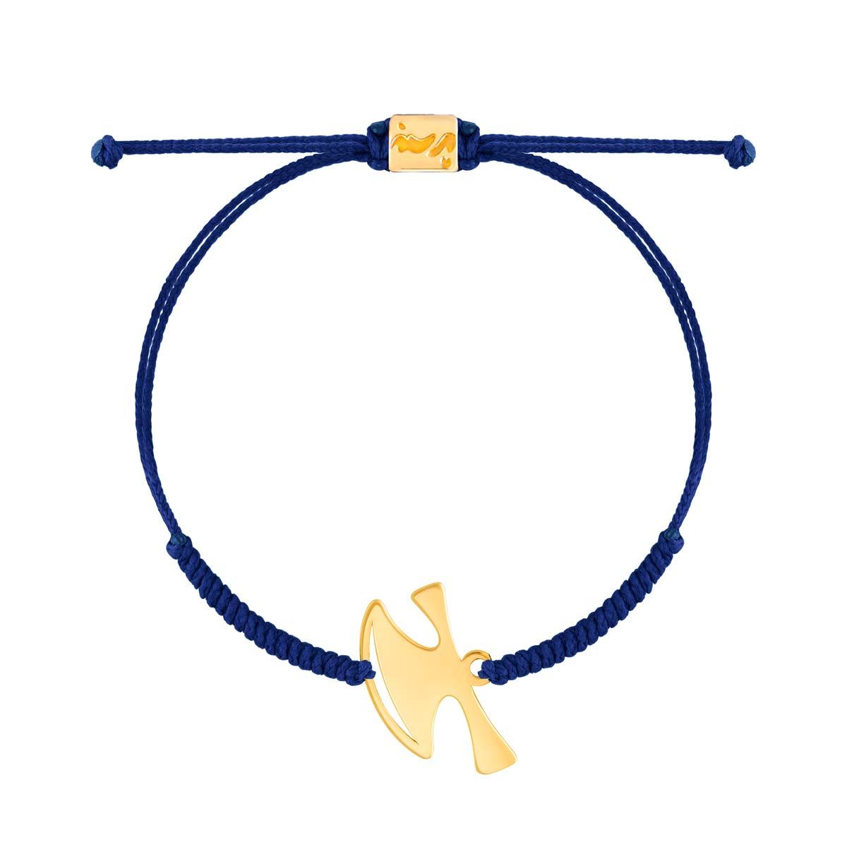 دستبند طلا بافت آبی تبر