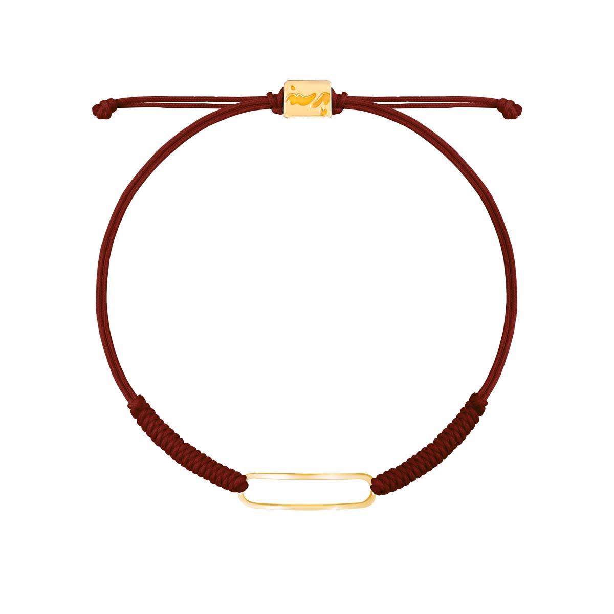 دستبند طلا بافت زرشکی بیضی توخالی