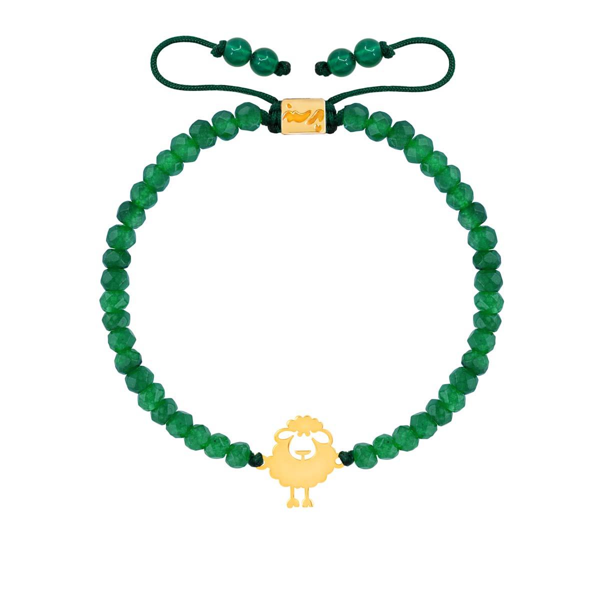 دستبند طلا سنگی بچه گانه ببعی و یشم