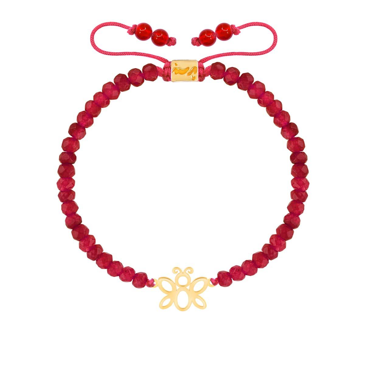 دستبند طلا سنگی بچه گانه پروانه