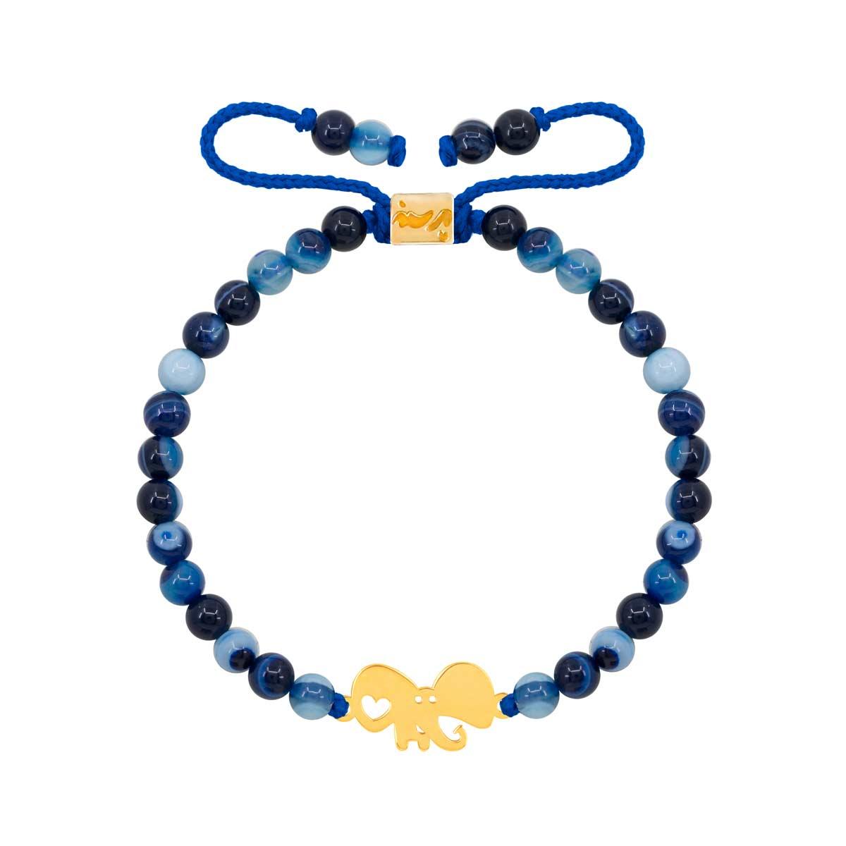 دستبند طلا بچه گانه سنگی فیل و قلب و جید آبی