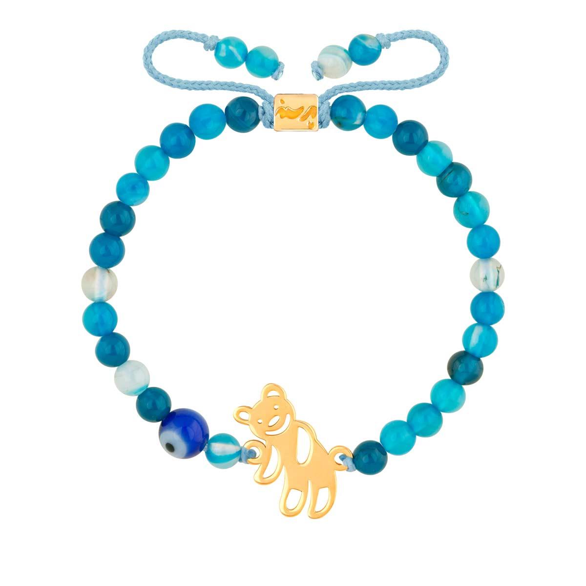 دستبند طلا بچه گانه سنگی TEDDY و جید آبی