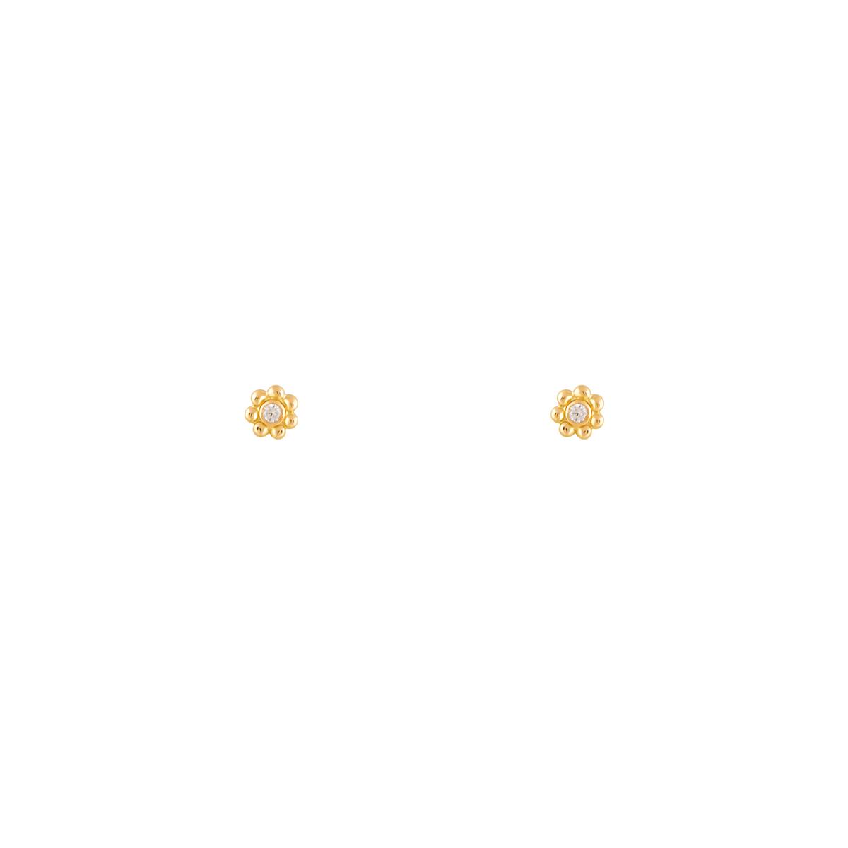 گوشواره طلا گل تک نگین