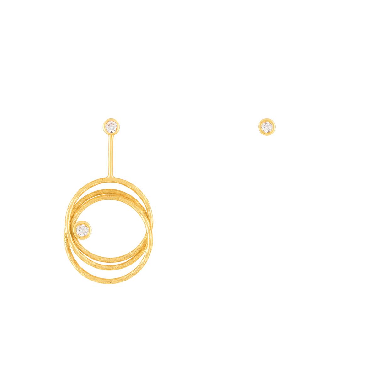گوشواره طلا سه رینگ لونا