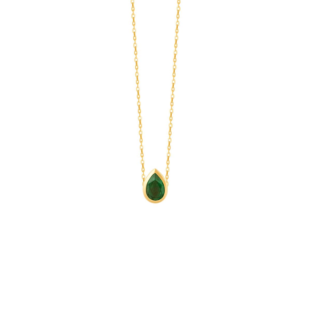 گردنبند طلا اشک سبز و دایره قرمز
