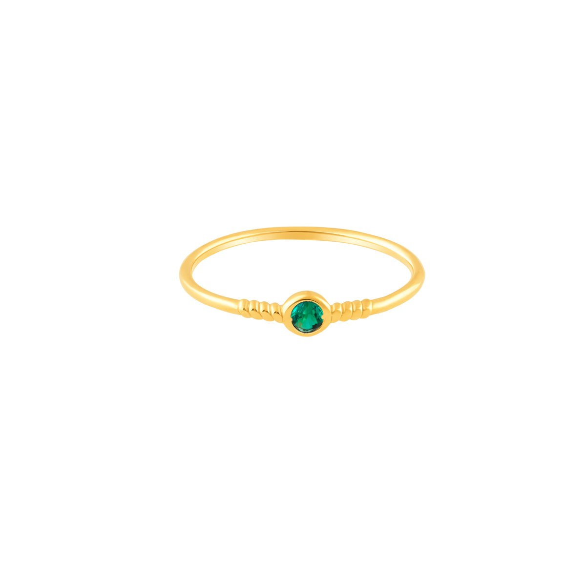 انگشتر طلا تک نگین سبز لونا