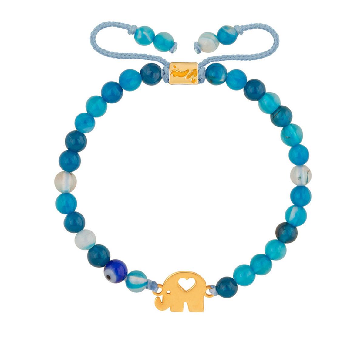 دستبند طلا بچه گانه سنگی فیل کوچک و قلب