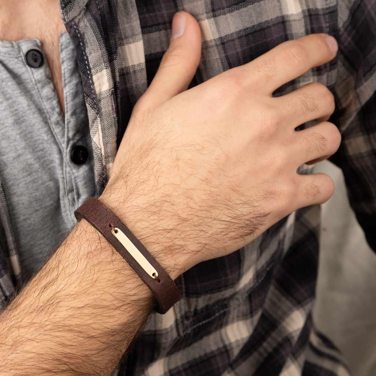 دستبند طلا چرمی قهوه ای پلیت