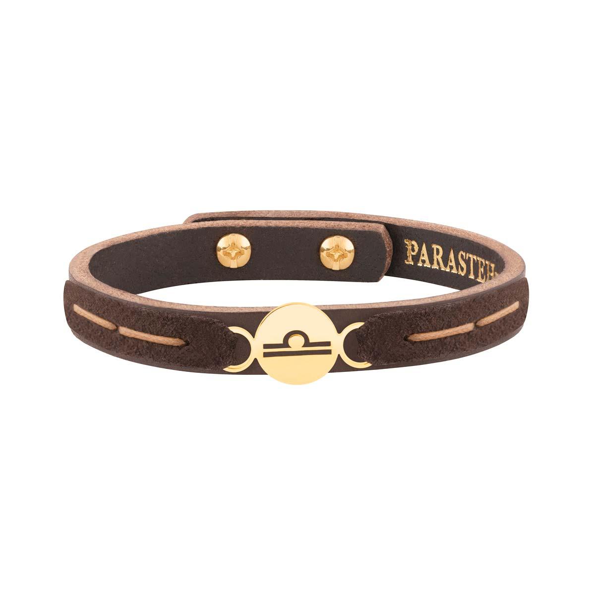 دستبند طلا چرمی و جیر نماد ماه مهر