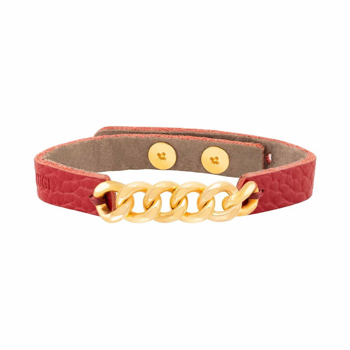 دستبند طلا چرمی شش حلقه کارتیه