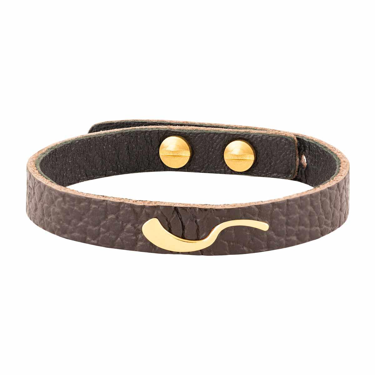 دستبند طلا چرمی حرف ک