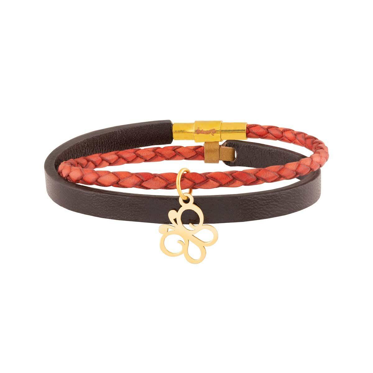 دستبند طلا چرمی پروانه