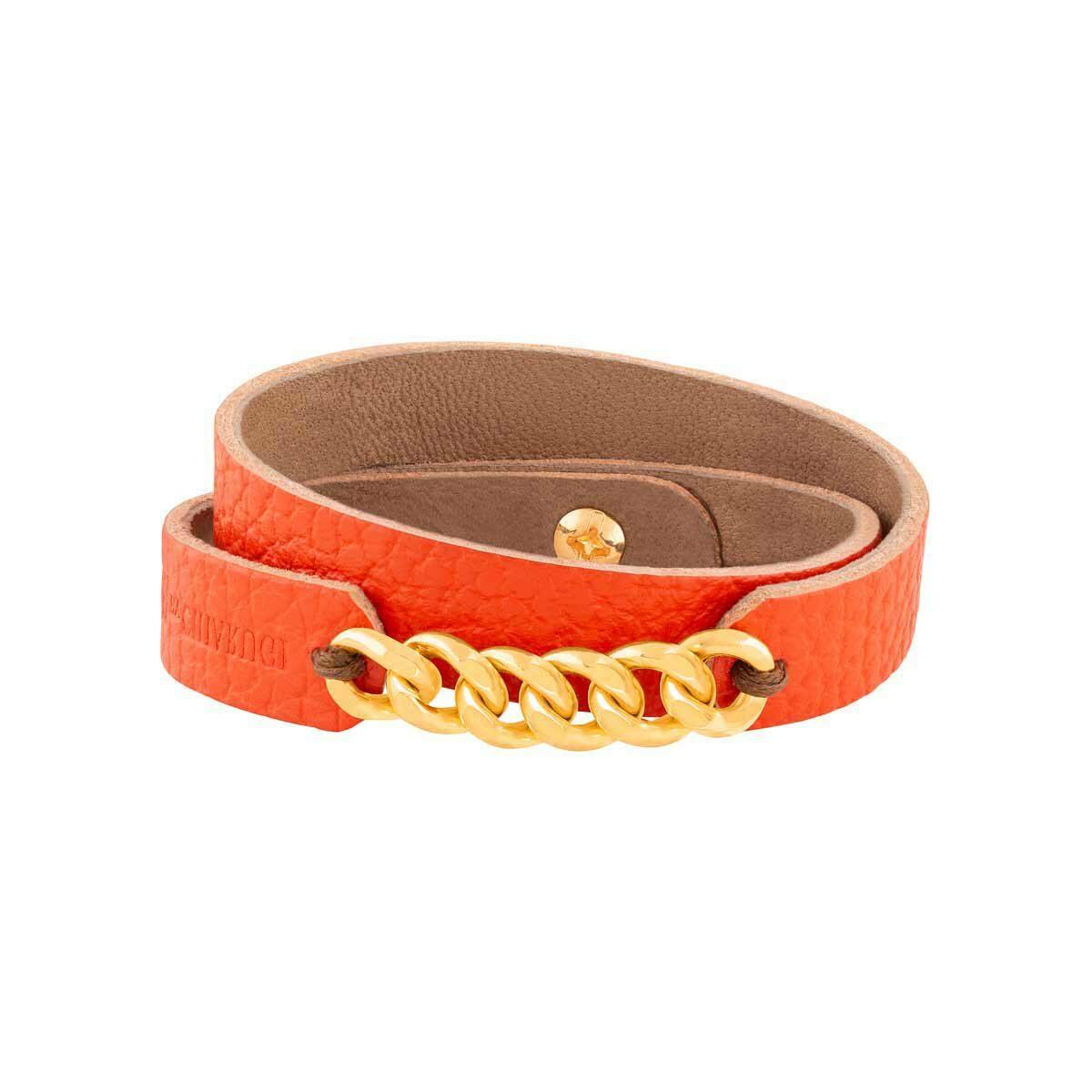 دستبند طلا چرمی نارنجی شش حلقه کارتیه