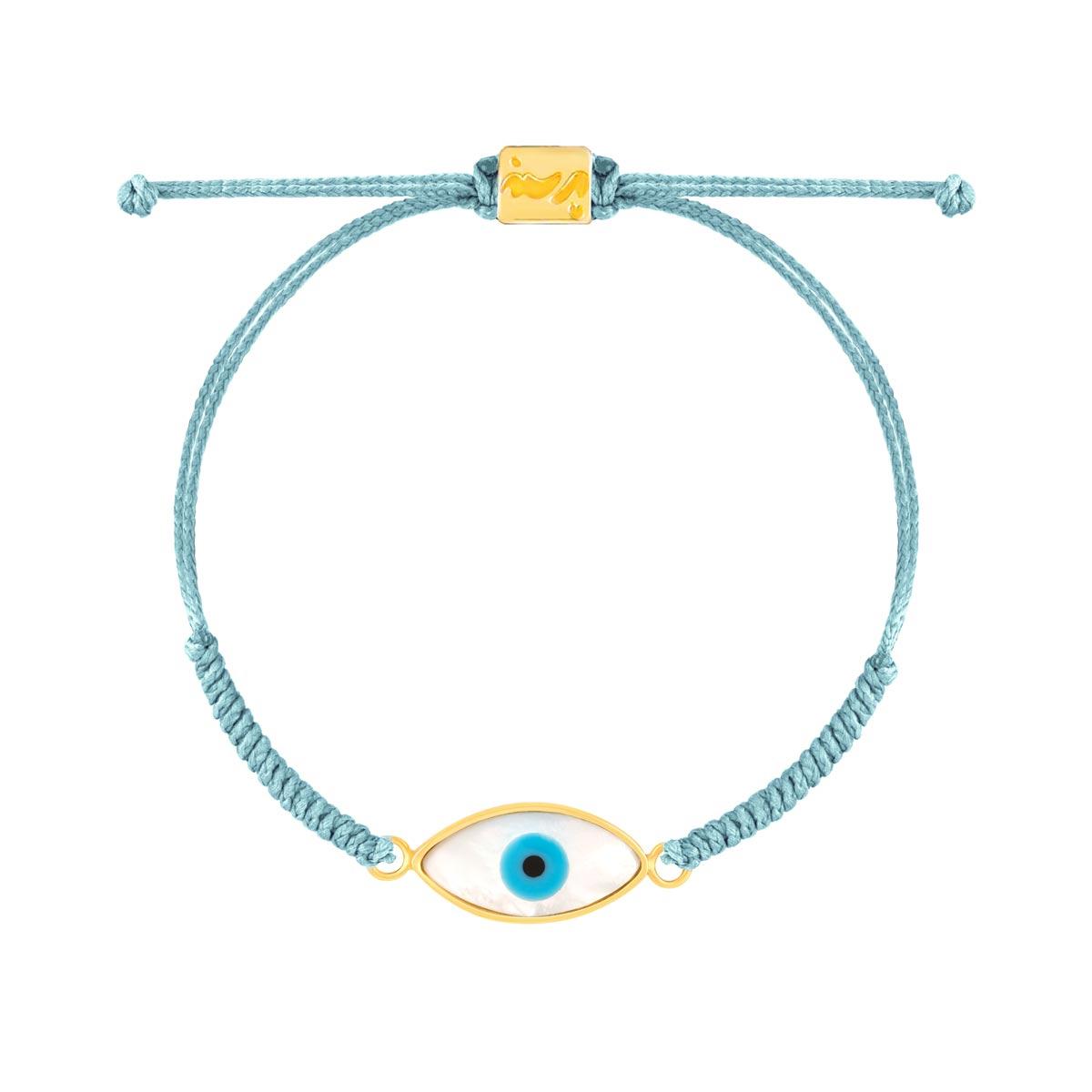 دستبند طلا بافت آبی روشن چشم
