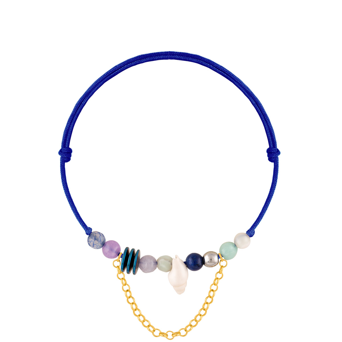 دستبند طلا بافت آبی صدف