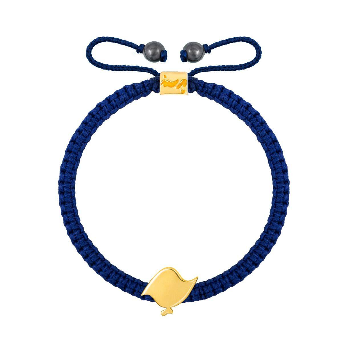 دستبند طلا بافت سرمه ای حرف پ