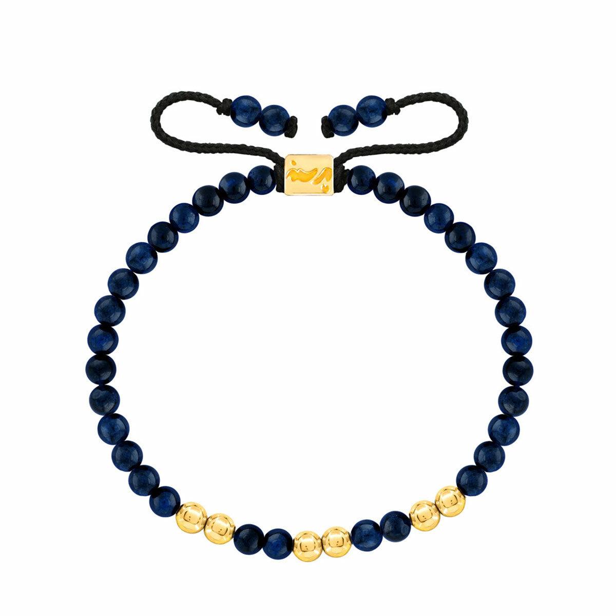 دستبند طلا سنگی شش گوی و لاجورد