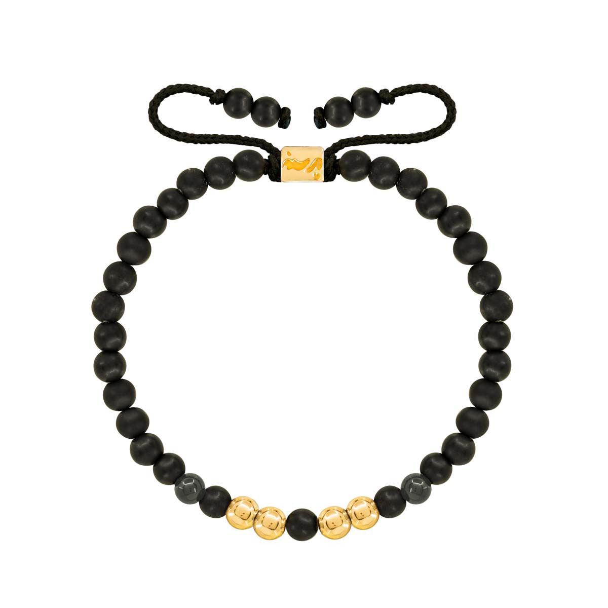 دستبند طلا سنگی چهار گوی و اونیکس