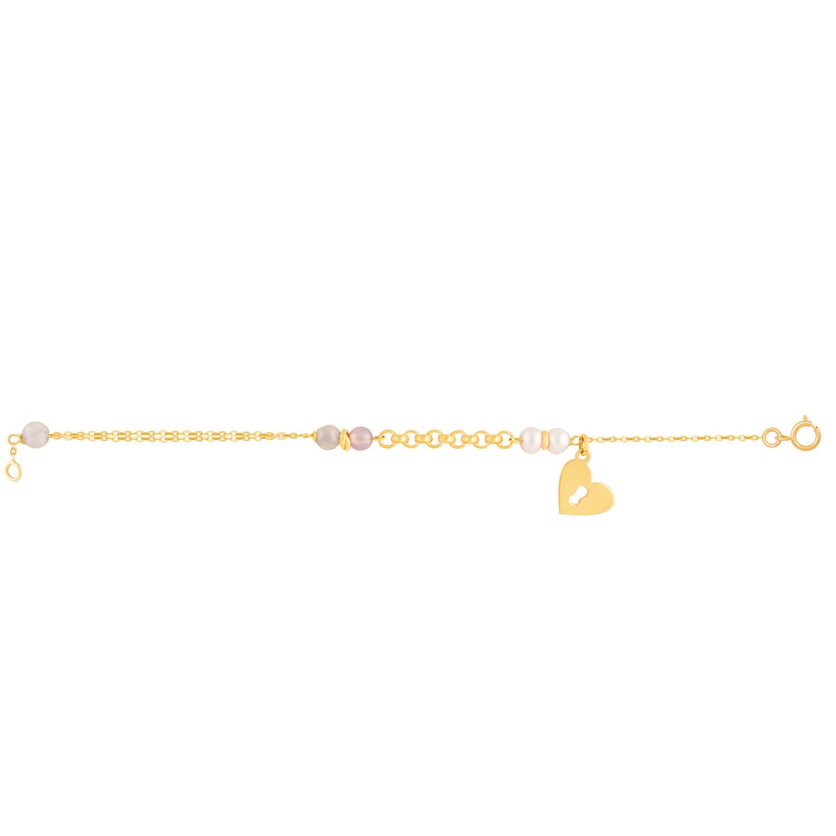 دستبند طلا آویز قفل قلب