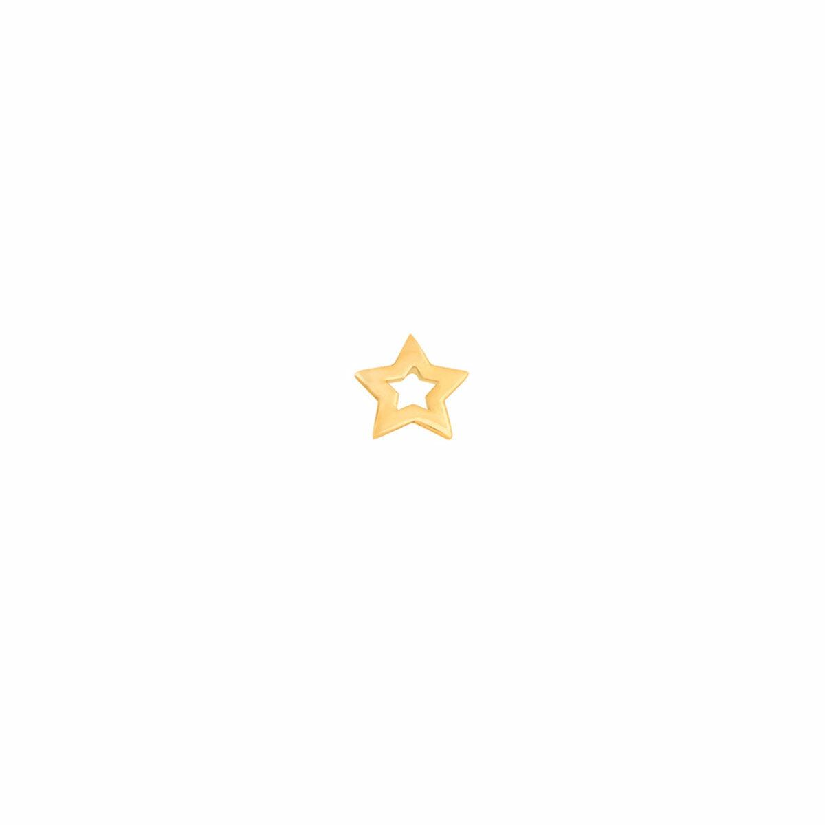 گوشواره طلا تک لنگه ای ستاره توخالی