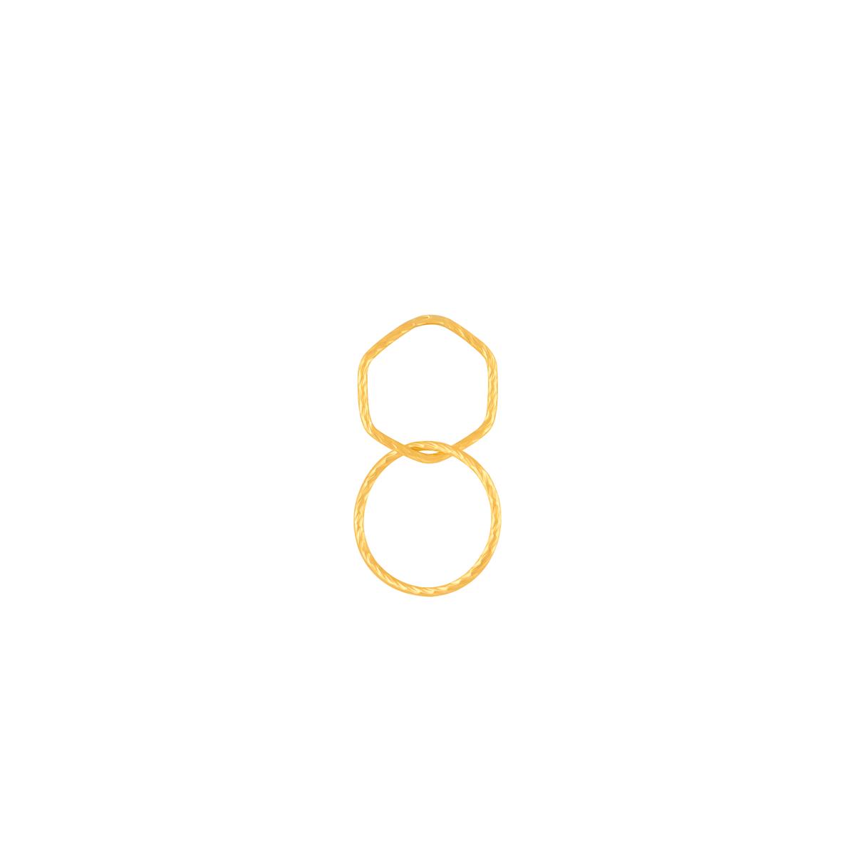 گوشواره طلا تک لنگه ای دو حلقه